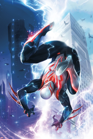 Spider-Man 2099 1 Cover Featuring Lightning, Skyscrapers, Electricity, Falling, Jumping Prints by Francesco Mattina