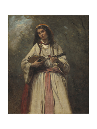 Gypsy Girl with Mandolin, c.1870 Giclee Print by Jean Baptiste Camille Corot