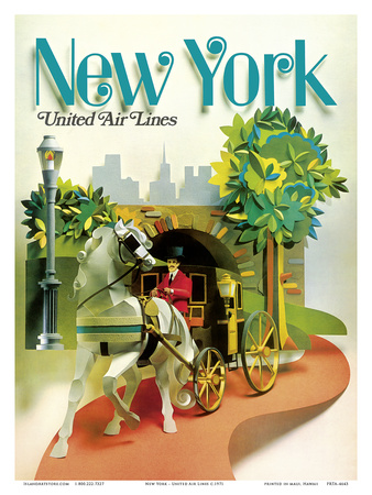 New York - Central Park Horse Drawn Carriage - United Air Lines Prints