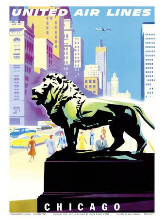 Chicago, USA - Bronze Lion Statues - Art Institute of Chicago - United Air Lines Posters av Joseph Binder