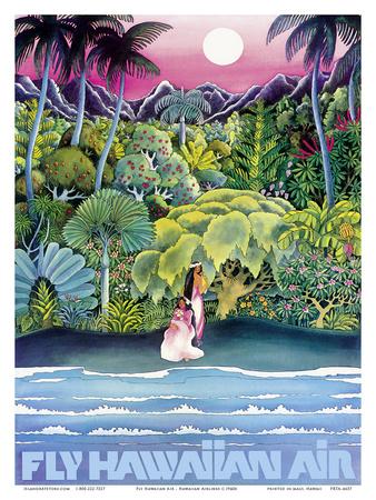 Fly Hawaiian Air - Hawaii Women on the Beach - Hawaiian Airlines Prints