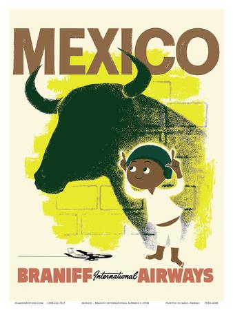 Mexico - Bull and Boy Matador - Braniff International Airways Prints