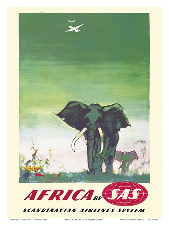 Africa - Elephants - by SAS Scandinavian Airlines System Prints by Otto Nielsen