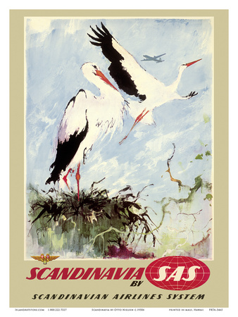 Scandinavia - White Storks - SAS Scandinavian Airlines System Prints by Otto Nielsen