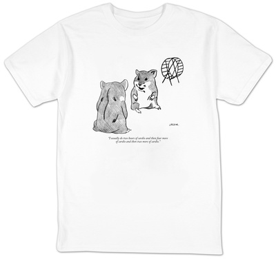 """""""I usually do two hours of cardio and then four  more of cardio and then t"""" - New Yorker T-Shirt T-Shirt by Jason Polan"""