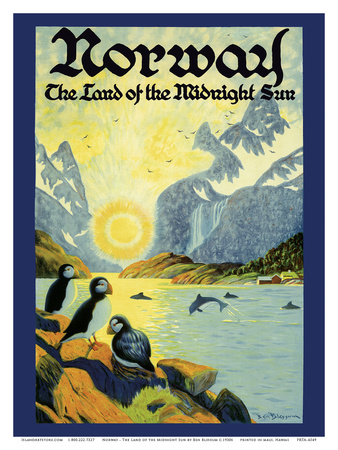 Norway - The Land of the Midnight Sun - Norwegian Fjord with Atlantic Puffins Poster by Ben Blessum