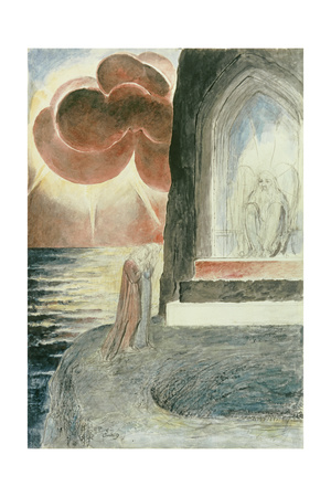 Illustrations to Dante's 'Divine Comedy', Dante and Virgil Approaching the Angel Giclee Print by William Blake