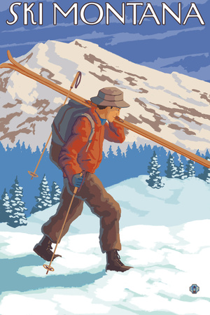 Skier Carrying Snow Skis, Montana Plastic Sign by  Lantern Press