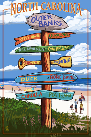 Outer Banks, North Carolina - Sign Destinations Plastic Sign by  Lantern Press