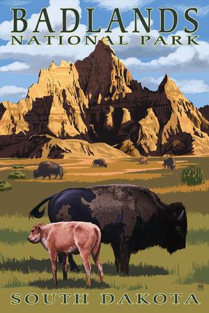 Badlands National Park, South Dakota - Bison Scene Plastic Sign by  Lantern Press