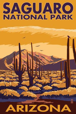 Saguaro National Park, Arizona Plastic Sign by  Lantern Press