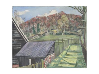 Behind the Inn Giclée-tryk af Paul Nash