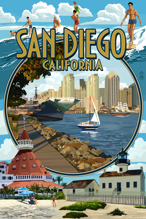 San Diego, California Montage Plastic Sign by  Lantern Press