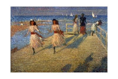 Girls Running, Walberswick Pier Giclee Print by Philip Wilson Steer