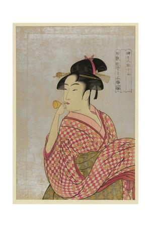 Young Lady Blowing on a Poppin Prints by Kitagawa Utamaro