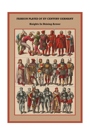 Fashion Plates of XV Century, Germany Knights in Shining Armor Prints by Friedrich Hottenroth