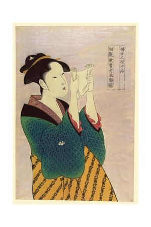 Woman Reading a Letter Poster by Kitagawa Utamaro
