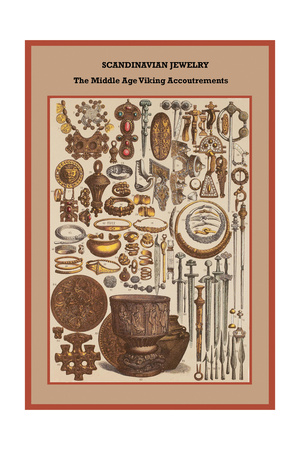 Scandinavian Jewelry the Middle Age Viking Accoutrements Print by Friedrich Hottenroth