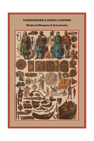 Scandinavian and Viking Costume Medieval Weapons and Armaments Poster by Friedrich Hottenroth