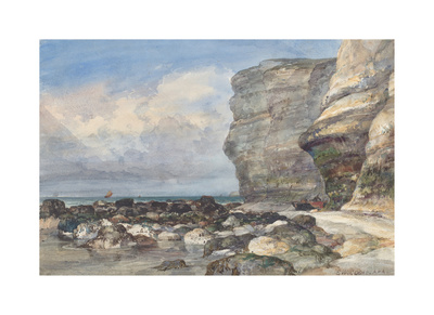 The Rocky Beach and Cliffs at Fecamp Premium Giclee Print by E.W. Cooke
