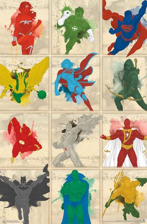 Justice League- Simplistic Grid Print
