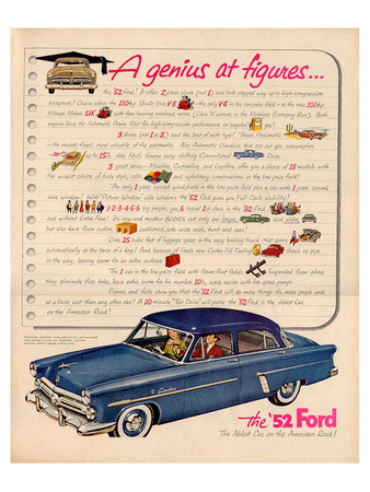 1952 Ford- a Genius at Figures Posters