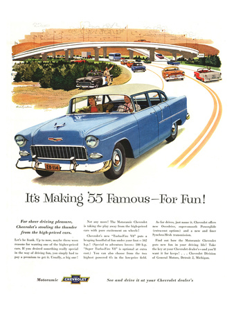 1955 GM Chevy Famous for Fun Prints