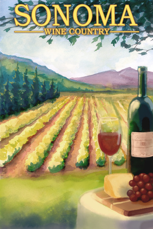 Sonoma County, California Wine Country Wall Mural by  Lantern Press