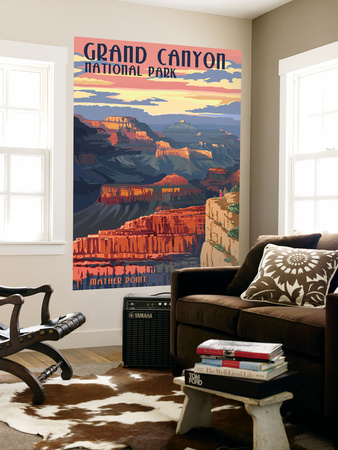 Grand Canyon National Park - Mather Point Wall Mural by  Lantern Press