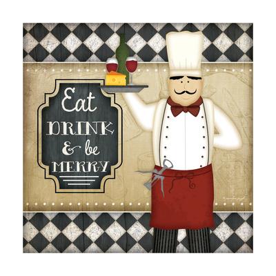 Bistro Chef Be Merry Art by Jennifer Pugh