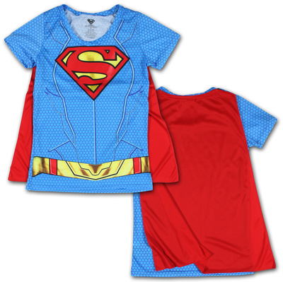 Juniors: Supergirl- Costume Tee with Cape Shirts
