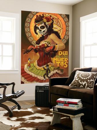 Dia De Los Muertos Marionettes Wall Mural by  Lantern Press