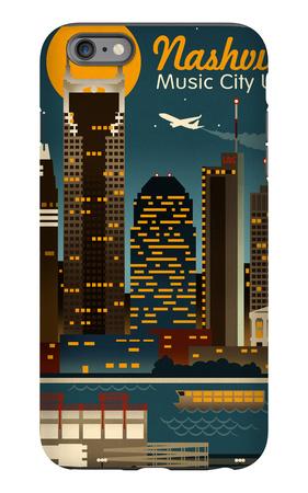 Retro Skyline - Nashville, Tennessee iPhone 6s Plus Case by  Lantern Press