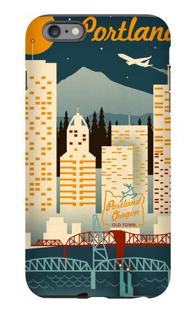 Portland, Oregon - Retro Skyline iPhone 6s Plus Case by  Lantern Press