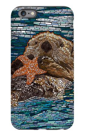 Sea Otter - Paper Mosaic iPhone 6 Plus Case by  Lantern Press