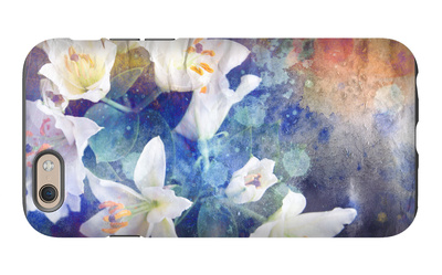 Artistic Abstract Watercolor Painting with Lily Flowers on Paper Texture iPhone 6s Case by  run4it