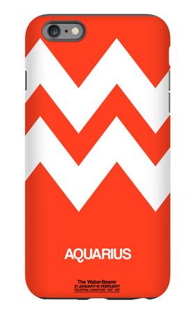 Aquarius Zodiac Sign White on Orange iPhone 6 Plus Case by  NaxArt