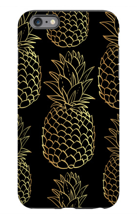 Exotic Seamless Pattern with Silhouettes Tropical Fruit Pineapples. iPhone 6s Plus Case by  klepsidra