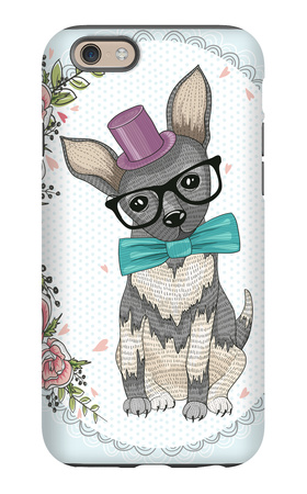 Cute Hipster Dog and Flower Frame. iPhone 6s Case by cherry blossom girl