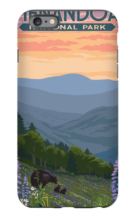Shenandoah National Park, Virginia - Black Bear and Cubs Spring Flowers iPhone 6 Plus Case by  Lantern Press