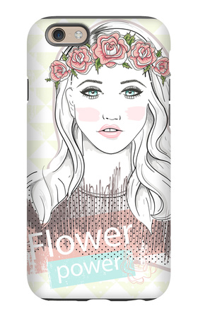 Young Girl Fashion Illustration. Pastel Fashion Trend. Girl with Flower Crown. iPhone 6s Case by cherry blossom girl
