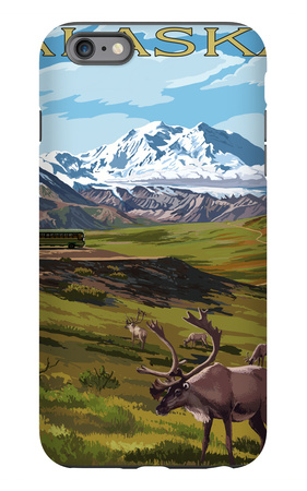 Denali National Park, Alaska - Caribou and Stoney Overlook iPhone 6 Plus Case by  Lantern Press