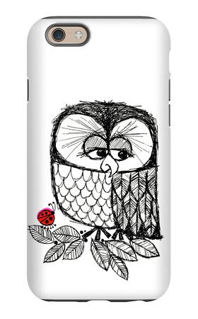 Retro Black and White Owl with Ladybug iPhone 6s Case