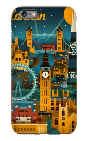 London, England - Retro Skyline iPhone 6s Plus Case by  Lantern Press