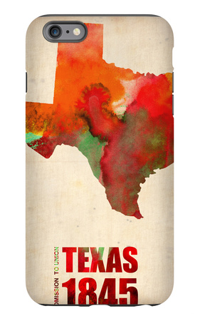 Texas Watercolor Map iPhone 6 Plus Case by  NaxArt