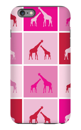 Pink Giraffe Squares iPhone 6s Plus Case by  Avalisa