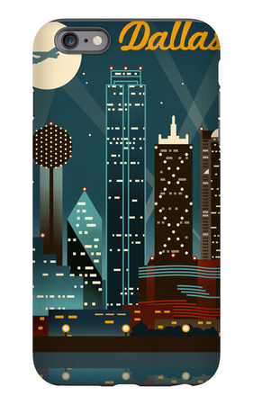 Dallas, Texas - Retro Skyline iPhone 6s Plus Case by  Lantern Press