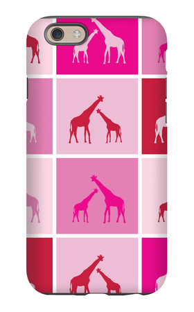Pink Giraffe Squares iPhone 6s Case by  Avalisa