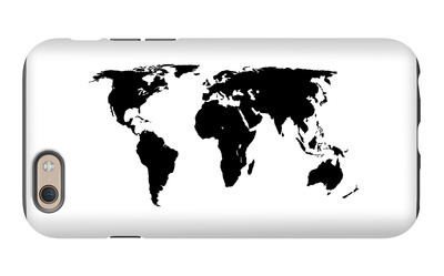 World Map - Black On White iPhone 6s Case by  Jacques70