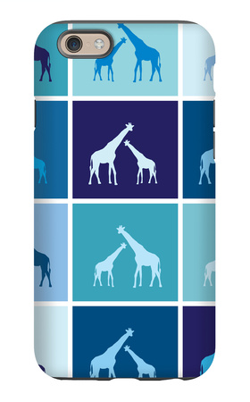 Blue Giraffe Squares iPhone 6s Case by  Avalisa
